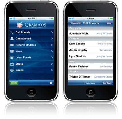 צילומי מסך מתוך האפליקציה של אובאמה ל-iphone