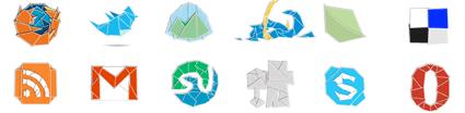 סדרת אייקונים בסגנון אוריגמי