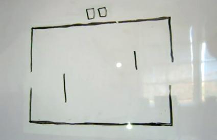 לשחק פונג על גבי לוח מחיק