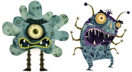 עיצוב דמויות הוירוסים של אלברטו סריטנו