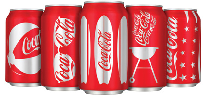עיצוב פחיות קוקה קולה במהדורת קיץ 2009
