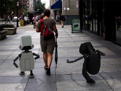הרובוטים Pullya ו-Pushya בטיול שגרתי ברחוב
