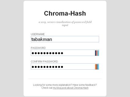Chroma Hash - ייצוג חזותי לתוכן שמוזן אל שדות סיסמא ממוסכים