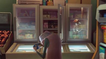 משהו משתקף בזכוכית מקרר הקפואים בסרטון האנימציה Blind spot