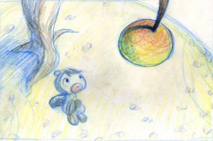 מתוך סרטון האנימציה הקלאסית בצבעי עפרון Eat