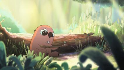 הבונה בוחן ענף בסרטון האנימציה הצרפתי הברית