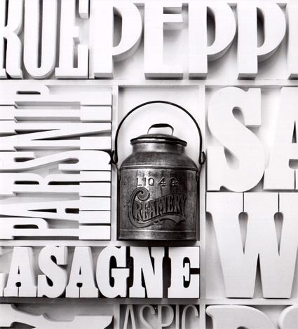 פרט מתוך קיר הקפיטריה Gastrotypographicalassemblage של לואיס דורפסמן ב-CBS