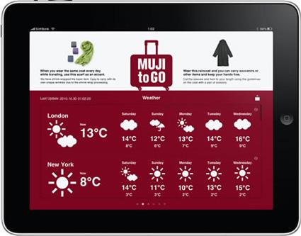 אפליקציית הנסיעות של Muji ל-iPad